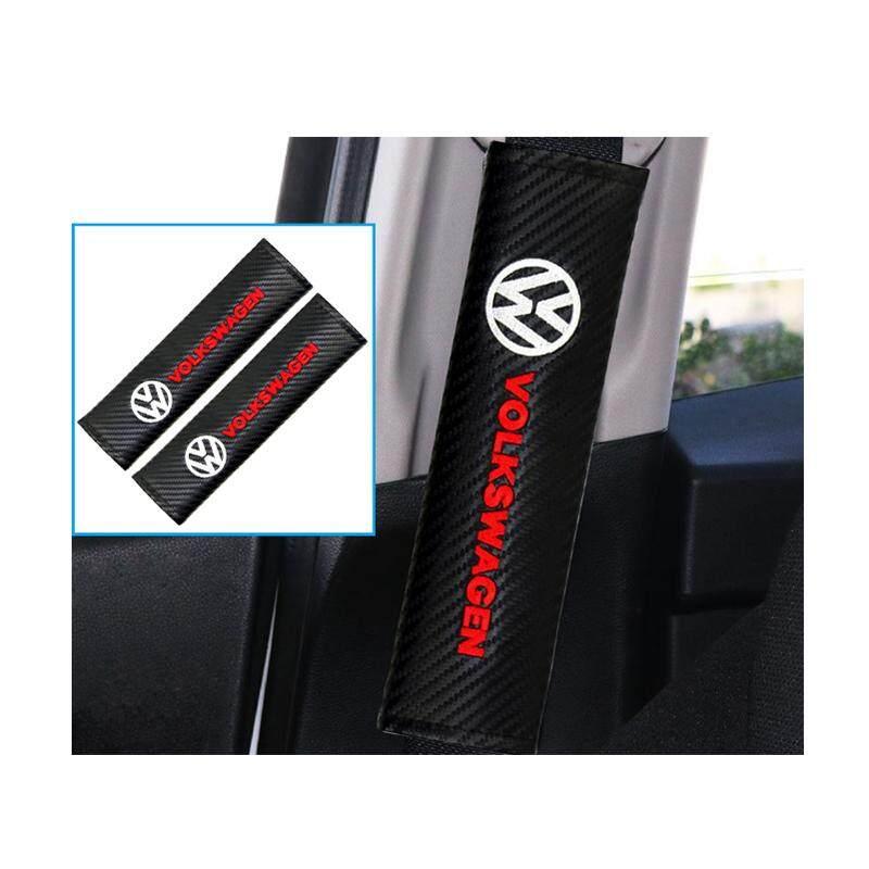 Rainbow 2 Pcs/set Volkswagen Mobil Serat Karbon Seat Belt Bahu Pad Kursi Keselamatan Di