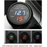 3 in 1 Digital LED USB Car Charger Voltmeter Thermometer Car Battery Monitor Blue /& Red