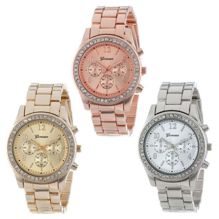 3 PACK Silver Gold and Rose Gold Plated Classic Round Ladies Watch
