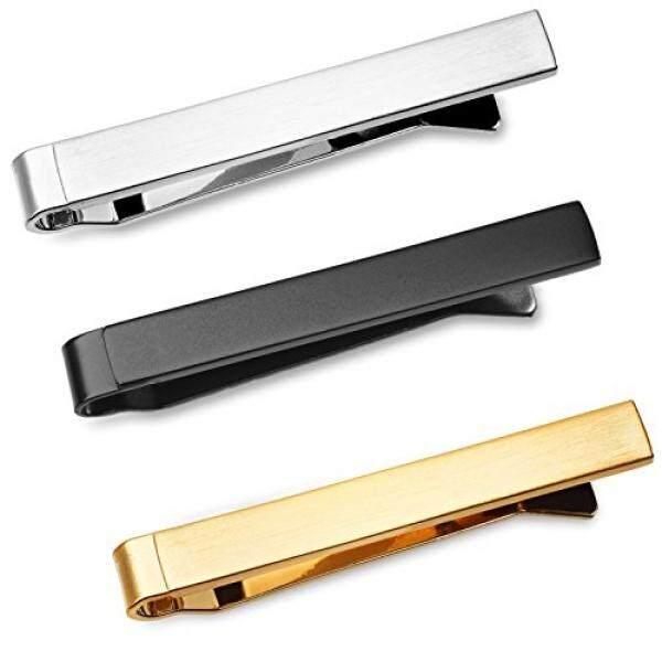 3 Pc Mens Tie Bar Slide Clip Set Skinny Ties 1.5 Inch, Brushed Silver,