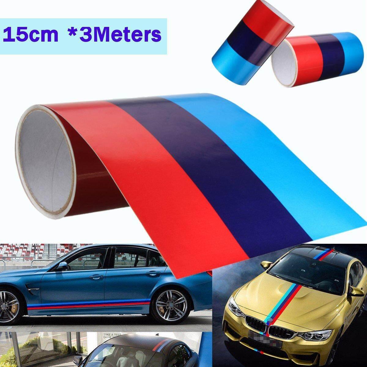 3 M M Berwarna Stripe Mobil Hood Atap Trunk Sticker Stiker untuk BMW M3/5 3