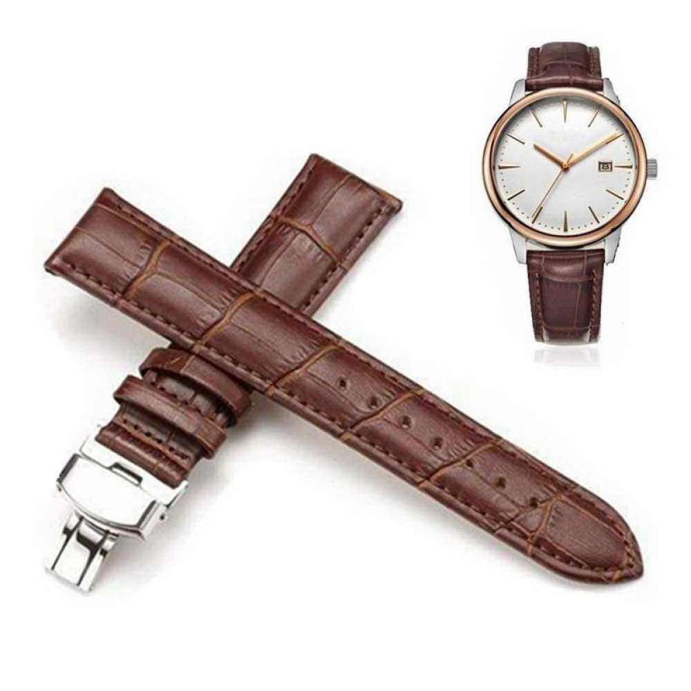 Nơi bán 3PCS Genuine Leather Stainless Steel Butterfly Watch Strap Clasp 20mm Brown Buckle Band