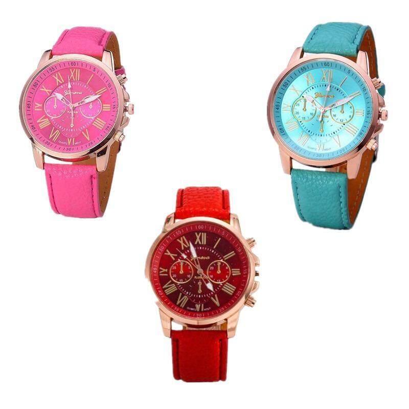 3pcs / set Geneva Ladies Fashion Roman Digital Leatherette Fashion Watch Malaysia