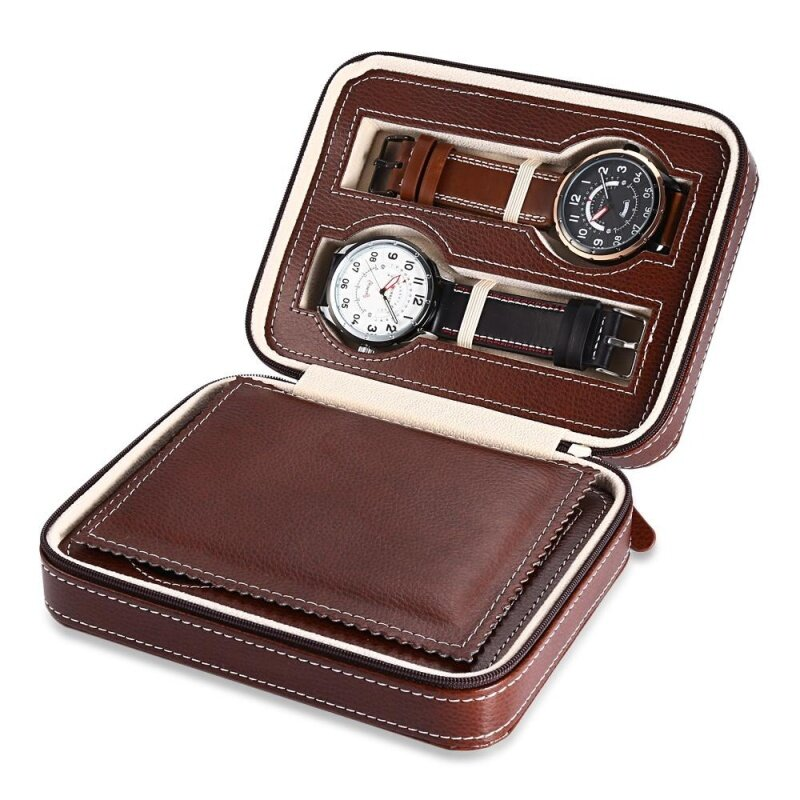 4 Grids PU Leather Travel Watch Storage Case Zipper Wristwatch Box Organizer Malaysia