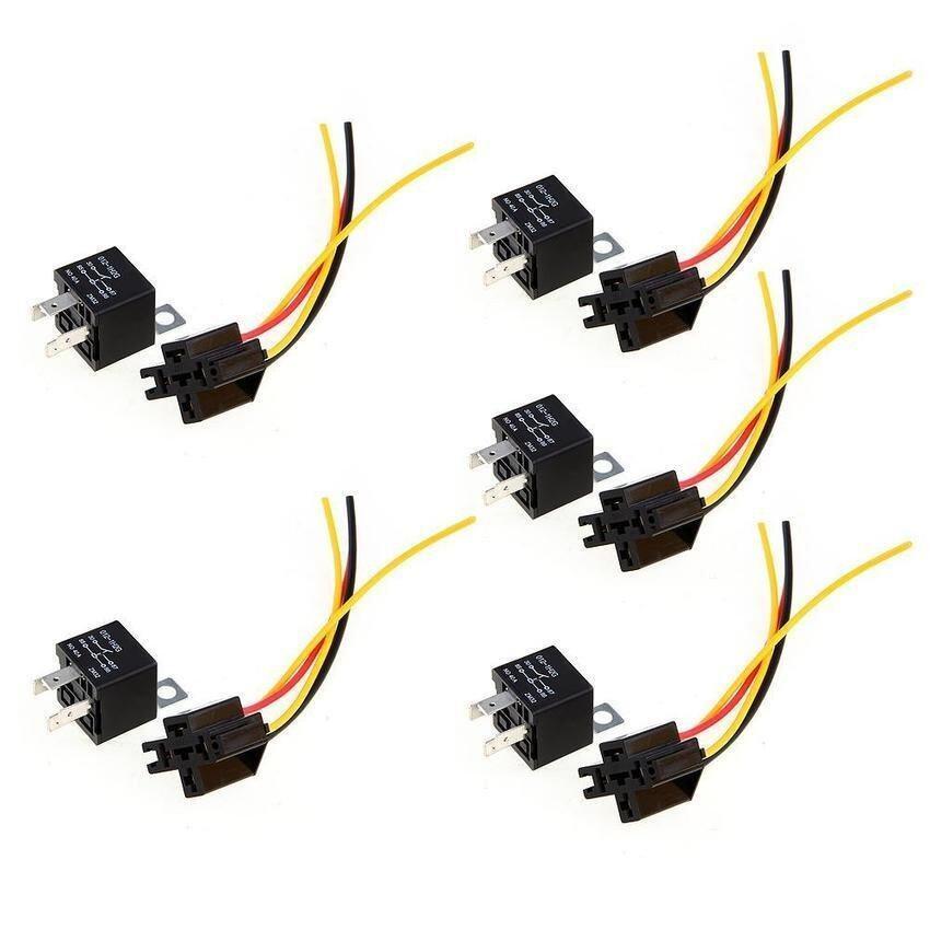 5pcs 12V SPST Relay Wire Socket Car Automotive Alarm 40A - intl