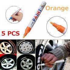 5Pcs Orange Universal Waterproof Permanent Paint Marker Pen Car Tire Tyre Oil Based For Trye weddings
