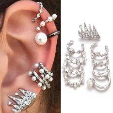 9 Pcs Set Punk Fashion Women Personality Ear Clip Carved Diamond Pearls Crown Silver Stud