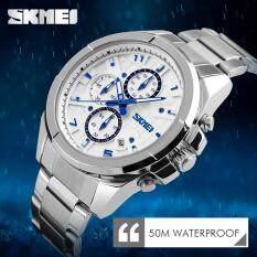 SKMEI 9109 High Quality Mens Fashion Casual 50M Waterproof Watches Luxury Brand Quartz-Watch Men Stainless Steel Business Wristwatch Malaysia