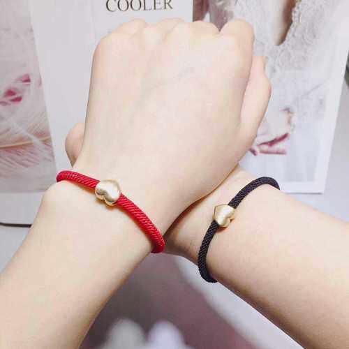 925 Murni Perak Piring dengan Emas Benevolence Bentuk Pecinta Gelang Merah Tali Tangan Tali Valentine hadiah Hari Ini Kehidupan Tahun Sebuah Kebenaran dari Pria dan Wanita-Internasional