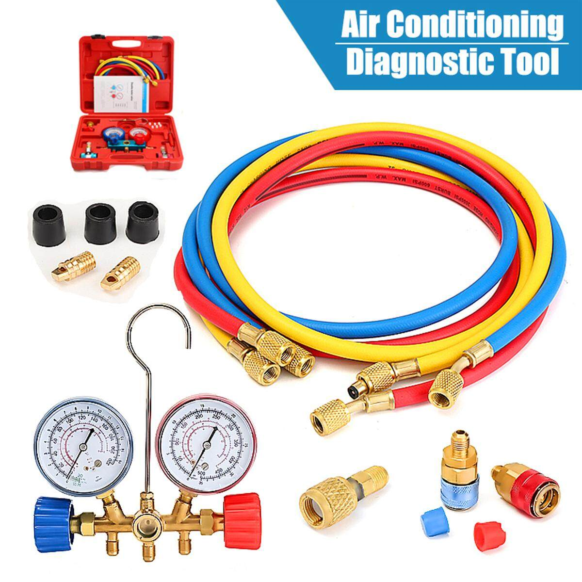 A/C Manifold Pengukur Kuningan Set R134A R12 R22 R502 Acme HVAC Freon AC Auto 5FT Hose-Intl