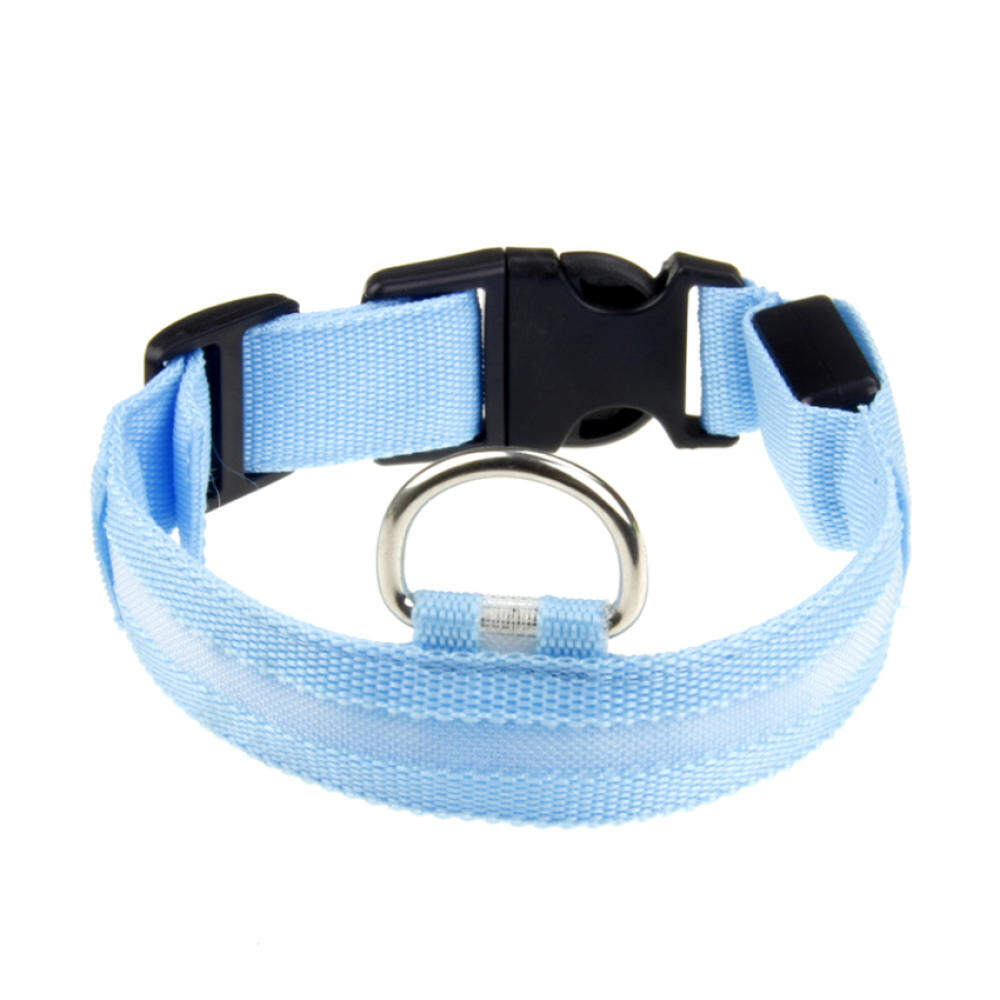 Adjustable Nylon Led Pet Dog Cat Night Safety Collar Ledflashinglight-Up Collar - Blue Light By Qjq Store.