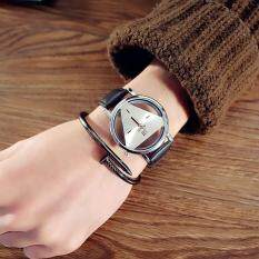 Ai Home Faux Leather Watches Triangle Double-sided Hollow-out Quartz Movement Student Watches Style2 Malaysia