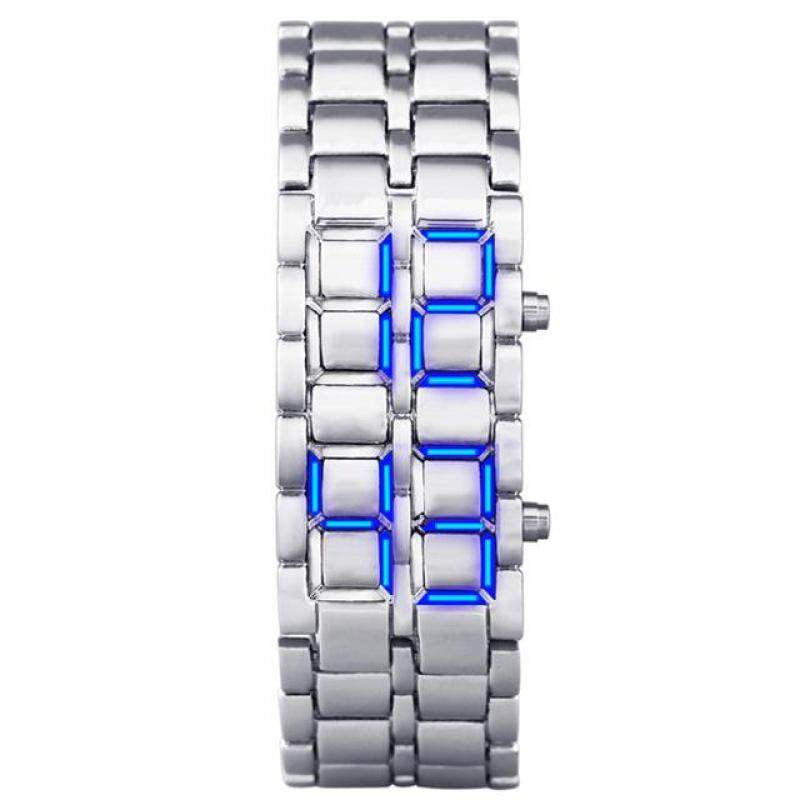 Aidis Water Resistant Electronic Second Generation Binary LED Digital Watch Men Lava Stainless Steel Wristband Silver Blue Malaysia