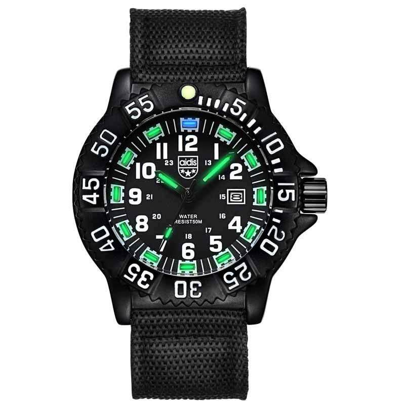 AIDIS  Men Outdoor Sports Luminous Watches Military Watches MY-050 Black Green Malaysia