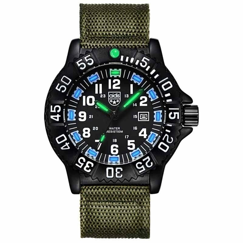AIDIS  Men Outdoor Sports Luminous Watches Military Watches MY-050  Green Blue Malaysia