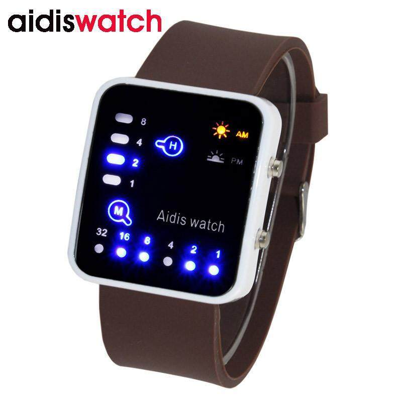AIDIS Mens Sports Waterproof LED Watch Coffee Blue Malaysia