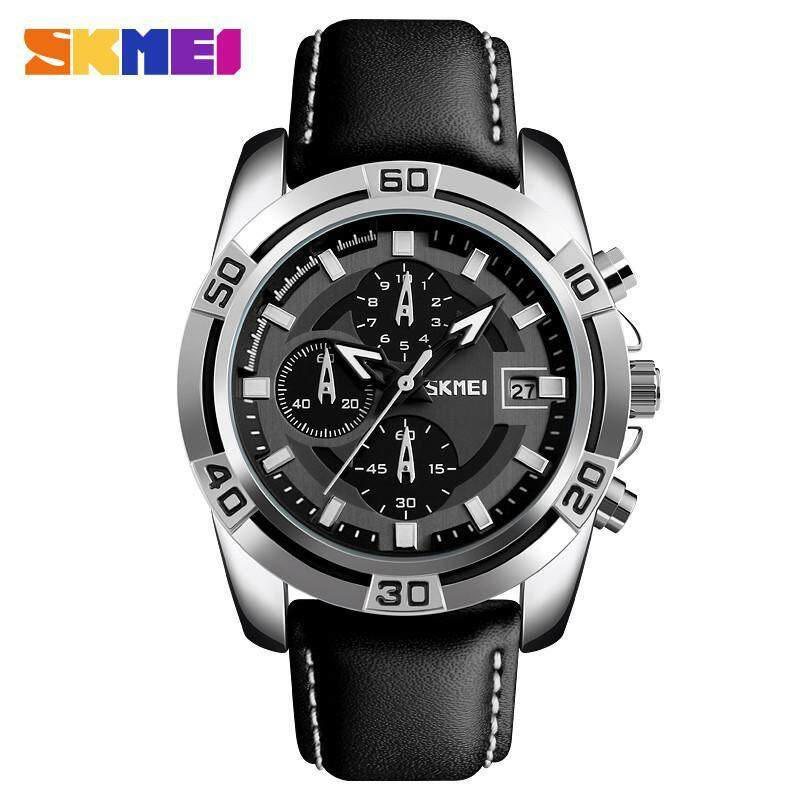 SKMEI 9156 Mens Casual Watch Waterproof Fashion Genuine Leather Strap Luminous Date  Quartz Watch Malaysia