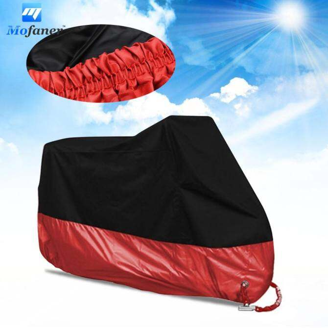 All Size Motorcycle Cover Waterproof Outdoor Uv Protector Bike Rain Dustproof Motorbike Motor Scooter M/L/XL/XXL/3XL/4XL A2123 (Black+Red) L
