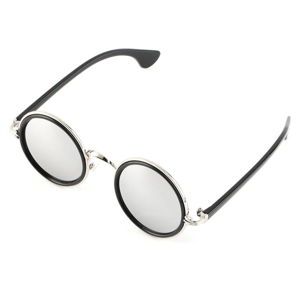 Allwin panas unisex Vintage Retro fashion laki-laki wanita cermin bulat  Lensa Kacamata Hitam Perak 4a6a40c858