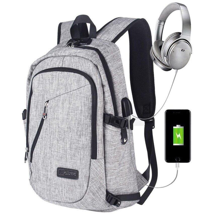 Anycare Bisnis Tahan Air Poliester Laptop Ransel dengan USB Pengisian Port dan Mengunci Cocok Dibawah 17-Inci Laptop dan buku Catatan (Grey) -Internasional
