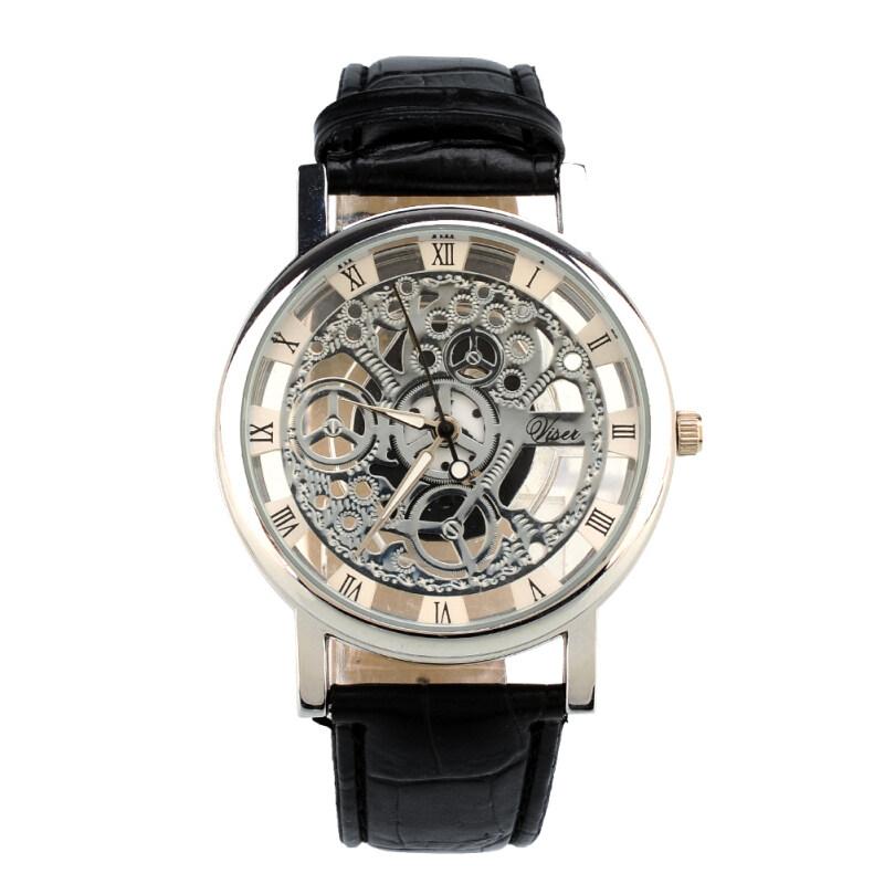 Aukey Skeleton Design Leather Band Wrist Watch(Black) Malaysia