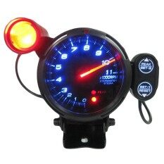 Automotive Car 3.5 Inches 0-11000 Rpm Tachometer Gauge Kit Blue Led Auto Meter With Adjustable Shift Light & Stepping Motor - Black By Tobbehere.