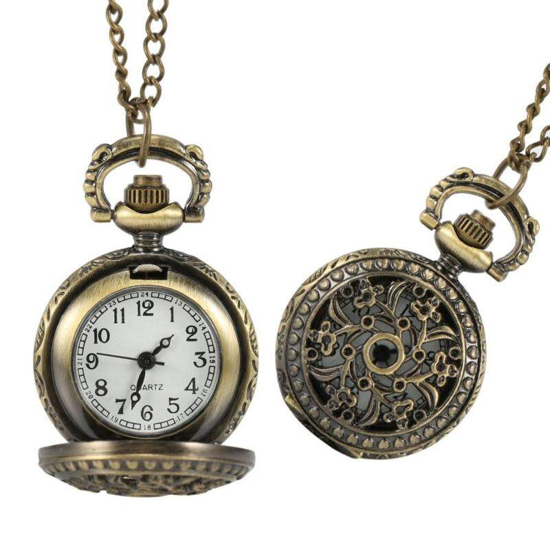 B-F Fashion Vintage Women Pocket Watch Alloy Retro Hollow Out Flowers Pendant Clock Sweater Necklace Chain Malaysia