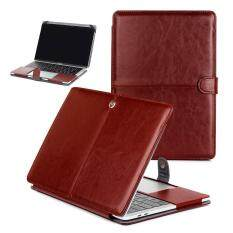 Bag for Macbook Pro 13.3 inch Leather Carrying Case Sleeve Pouch Bag Folio Snap Cover Notebook Protective Bag – Brown
