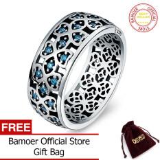 Bamoer 100% 925 Sterling Perak Kelopak Cinta Manis Semanggi Biru CZ Jari Cincin untuk Wanita