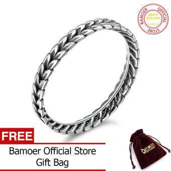 BAMOER จัดส่งฟรีแท้925เงินสเตอร์ลิงแหวนข้าวสาลีรูปร่างแหวนลูกศรผู้หญิง Vintage Vintage Sterling เครื่องประดับเงิน SCR139