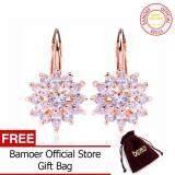 Luxury Rose Gold Flower Stud Earrings with AAA Zircon Stone Women Birthday Gift Bijouterie
