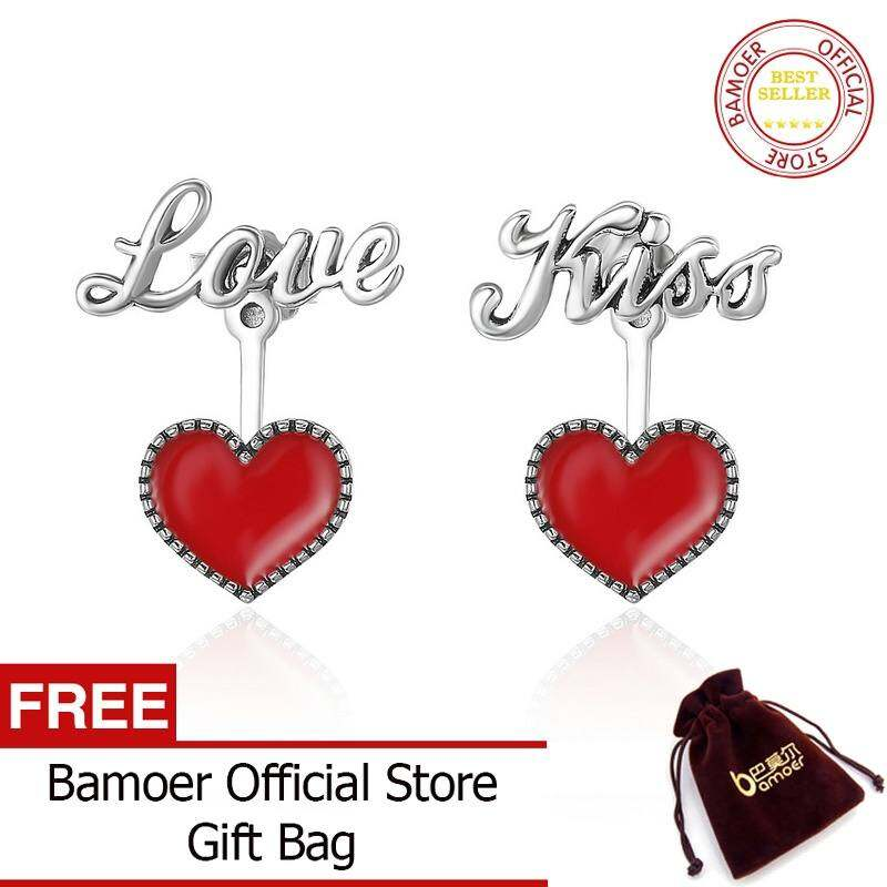 FF8866YY Romantis 925 Perak Berkilau Indah Merah Hati Cinta & Hadiah Baik Anting Anting Brincos