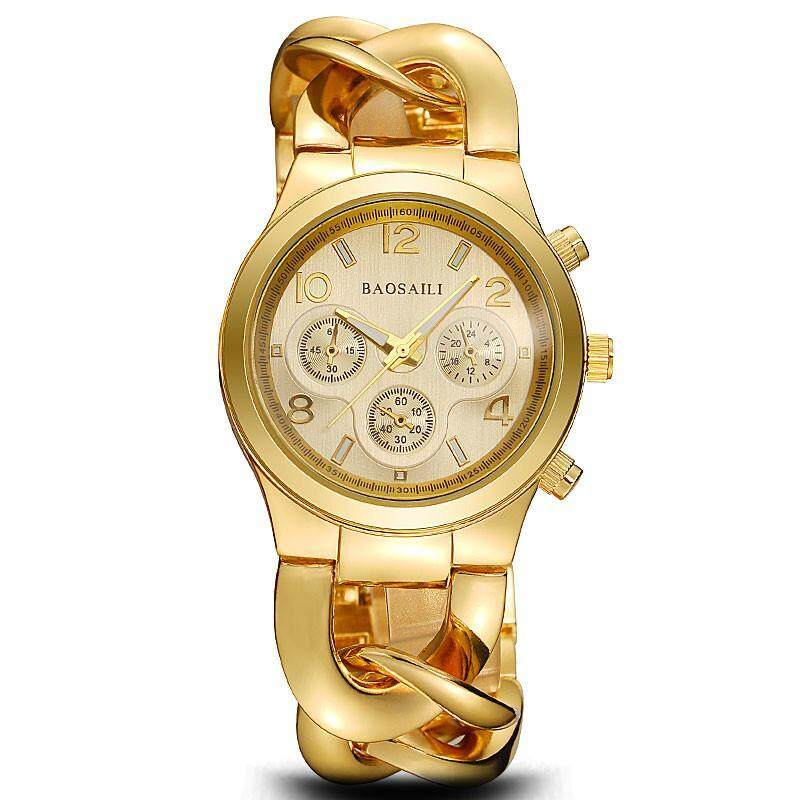 NiceTop BAOSAILI Hot Promotion Golden Women Wrist Watches Stainless Steel Quartz Ladies Bracelet Watches Link Chain Watch Band Malaysia