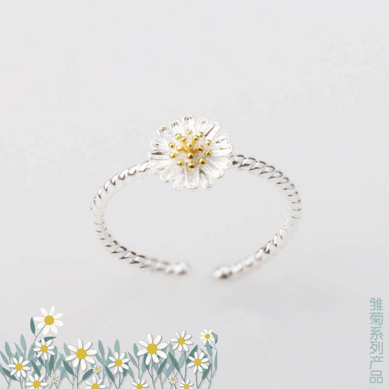 FF8866YY Terbaik Korea Segar Seni Disesuaikan Krisan Cincin Daisy Jari Wanita Perhiasan Cincin Grosir Bunga Bukaan