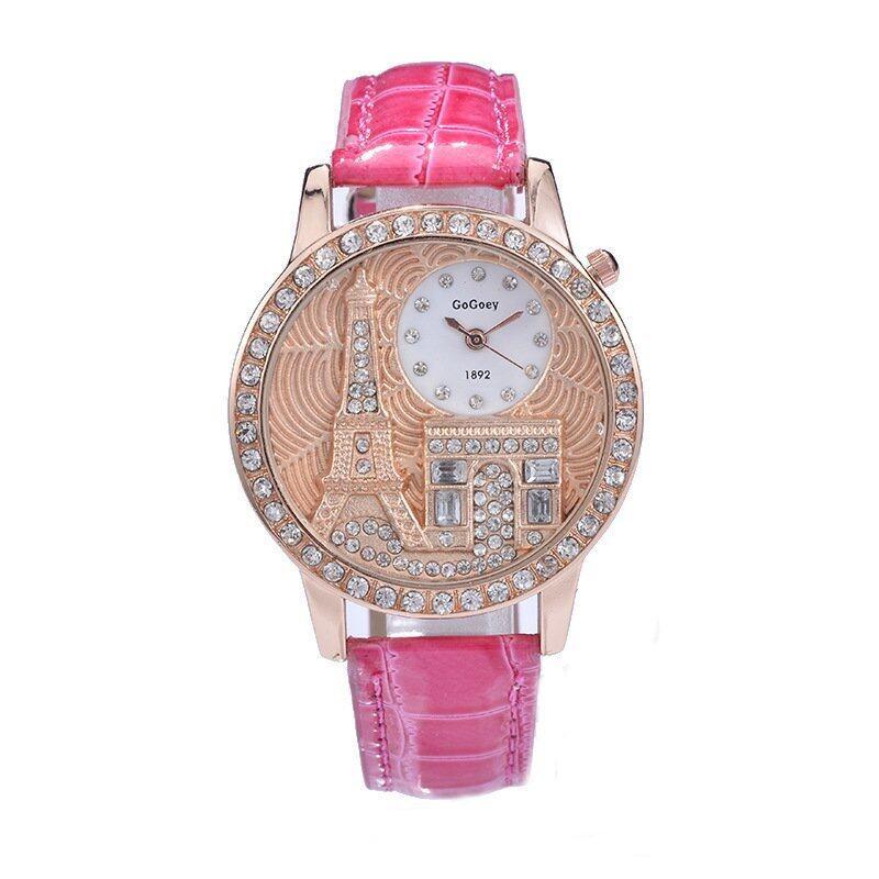 Best selling Gogoey Women rhinestone watches Luxury Crystal The Eiffel Tower Watch Women Ladies Fashion Dress Quartz Wristwatches(pink) Malaysia