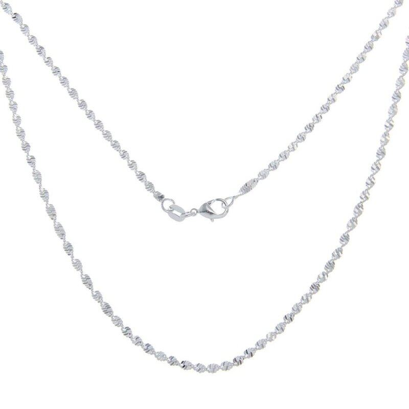 Bigood 2 Pcs Plated 925 Sterling Silver Shiny Rope Necklace Chain 60cm Malaysia