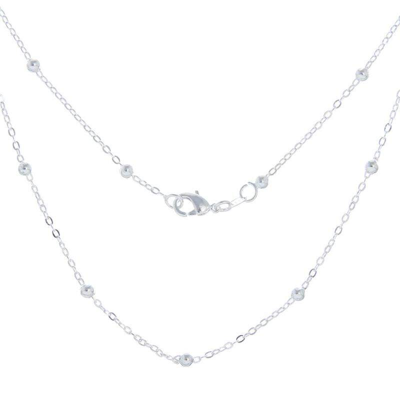 Bigood 2 Pcs Plated 925 Sterling Silver Thin Bead Bracelet Necklace Chain 60cm Malaysia