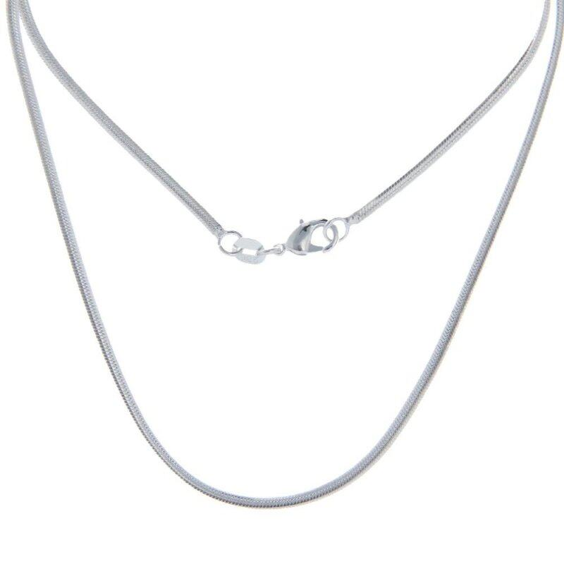 Bigood 2 Pcs Plated 925 Sterling Silver Wide Snake Necklace Chain 60cm Malaysia