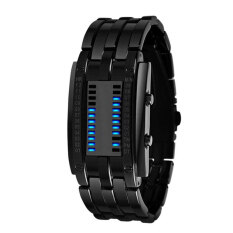 Binary Matrix Blue LED Waterproof Digital Wrist Watch Black for Men Malaysia