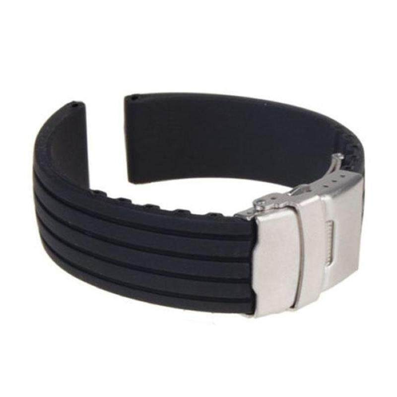 Black Silicone Rubber Watch Strap Band Deployment Buckle Waterproof 24mm Malaysia