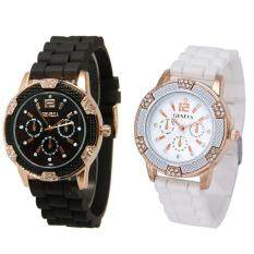 Black + White Rosegold Faux Chronograph Silicone Watch w/ Rhinestones Malaysia