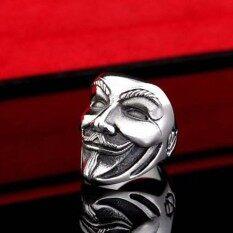 Blackhorse Punk V Masker Desain Cincin untuk Pria Vendetta Cincin Warna Perak Lebar Pria Jari Cincin