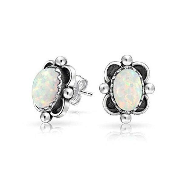 Bling Perhiasan Gaya Bali. 925 Perak Lonjong Simulasi Opal Stud Anting-Anting 10 Mm-Internasional