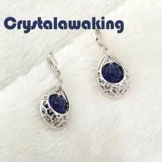 013639e0d Blue Water Drop Crystal Earrings Lady Eardrop Jewelry White Gold Plated