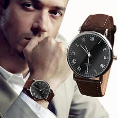 Bluelans® Men Fashion Faux Leather Band Roman Numerals Quartz Analog Sport Wrist Watch By Bluelans.