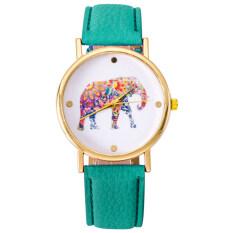 MYR 12. Bluelans® Women Quartz Elephant Pattern Golden Case Faux Leather Strap Wrist ...