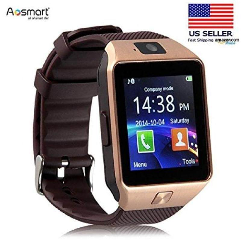 Bluetooth Smart Watch with Camera, Aosmart DZ09 Smartwatch for Android Smartphones - Gold Malaysia