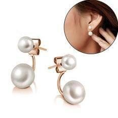 MYR 8. BODHI 1 Pair Women Fashion Double Faux Pearls Ear Studs Lovely Hoop Earrings ...