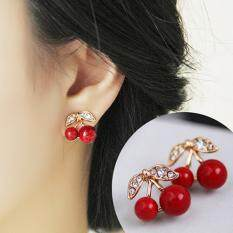 BODHI Women Red Cherry Clear Rhinestone Ear Studs Beads Golden Alloy Leaves Earrings