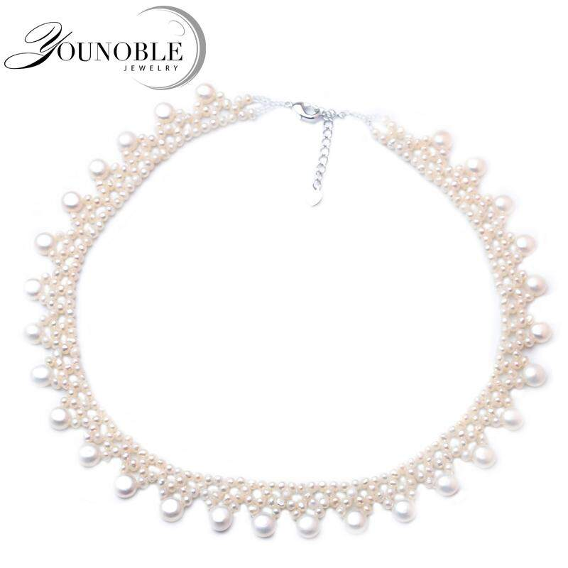 77b12d1fdab Bohemia Multi layer Necklace Natural Freshwater White Pearl Choker Necklace Fine  Jewelry for Mothers Day Girl